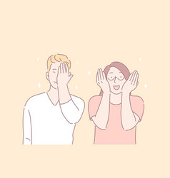 facepalm gesture joyful mood funny situation vector image