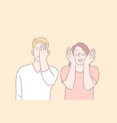 Facepalm gesture joyful mood funny situation vector
