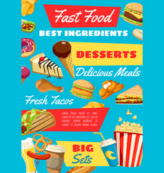 fast food with takeaway meal and drink vector image