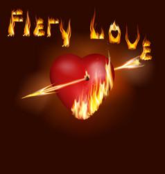fiery heart vector image