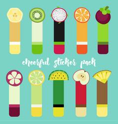 fruit sticker set vector image