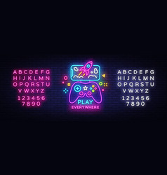 gamepad and smartphone neon sign games for vector image