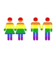 Gay LGBT rainbow icons white vector image