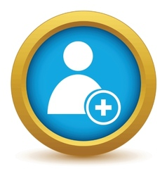 Gold add user icon vector