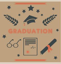 Graduation package retro design black and orange vector