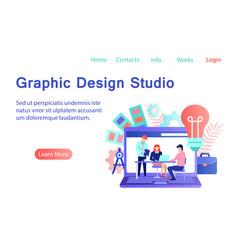 Graphic design studio flat style banner vector