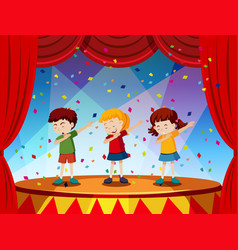 Group of children perform on stage vector