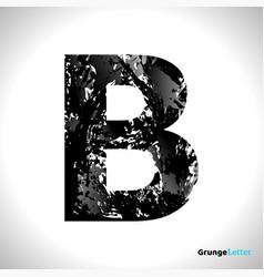 grunge letter b black font sketch style symbol vector image