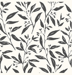 hand drawn plant black and white seamless pattern vector image