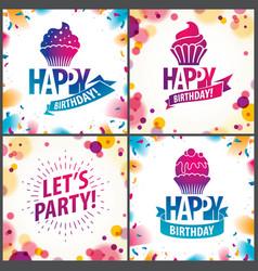 happy birthday joyful and bright greeting cards vector image