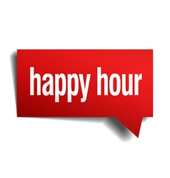 Happy hour red 3d realistic paper speech bubble vector