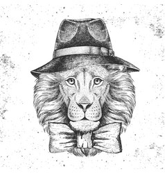 Hipster animal lion with hat hand drawing muzzle vector