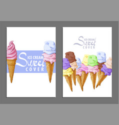 ice cream sweet covers vector image