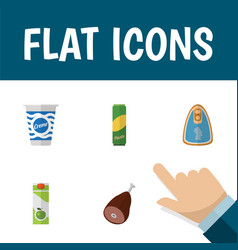 icon flat eating set of pasta cream apple juice vector image