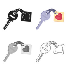 Key icon in cartoon style isolated on white vector