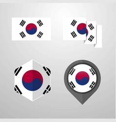 Korea south flag design set vector