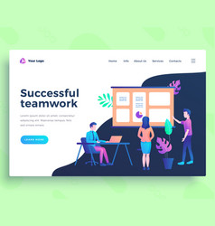 landing page template success teamwork concept vector image