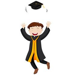 Man throwing graduation cap vector