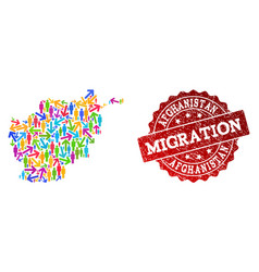 migration composition of mosaic map of afghanistan vector image