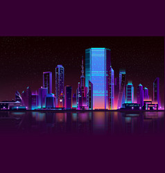 modern city night skyline neon cartoon vector image