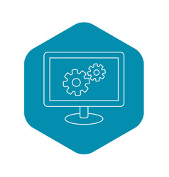 Monitor settings icon outline style vector