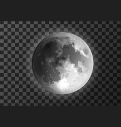 moon glowing crater surface meteo icon realistic vector image