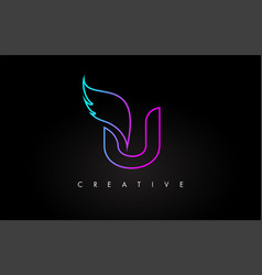 neon u letter logo icon design with creative wing vector image