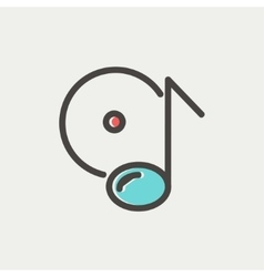 Note with phonograph record thin line icon vector image