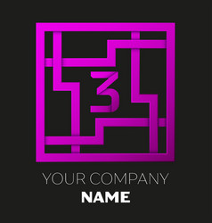 Number three logo in colorful square maze vector