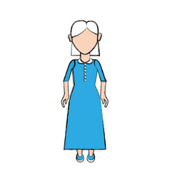 old woman with hairstyle and long dress vector image