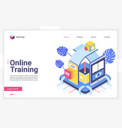 online training isometric landing page vector image