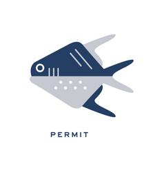 Permit sea fish geometric flat style design vector