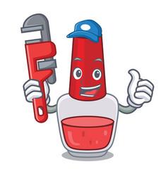 Plumber nail polish mascot cartoon vector