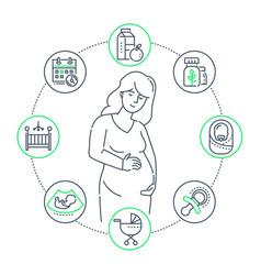 pregnancy - modern thin line design style vector image