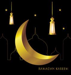 Ramadan kareem greeting card template arabic vector