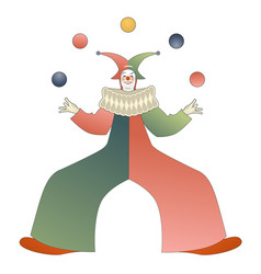 retro style clown juggling colored balls isolated vector image
