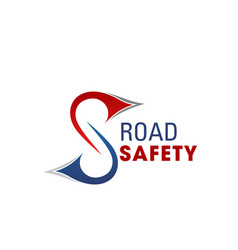 road safety letter s icon vector image