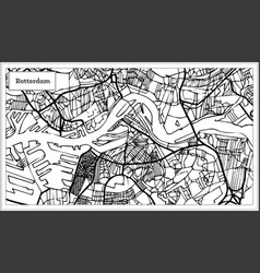 Rotterdam map in black and white color vector