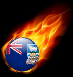 Round glossy icon of falkland islands vector