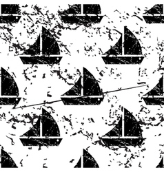 Sailing ship pattern grunge monochrome vector