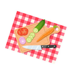 salad ingredients on cutting board vector image