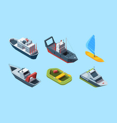 sea transport set isometric cruise ocean liner vector image