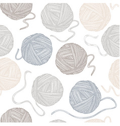 seamless pattern with yarn balls in boho style vector image