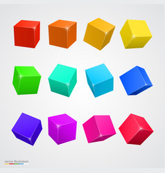 set colored cubes vector image