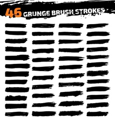 Set of black different grunge brush strokes vector image