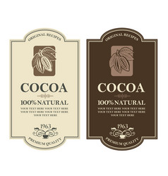 set of cocoa labels vector image