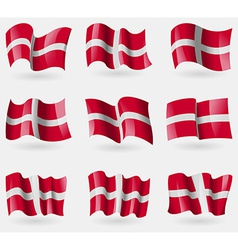 Set of Military Order Malta flags in the air vector image