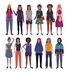 set women dressed in trendy casual clothes vector image