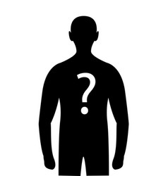 silhouette mystery person question mark on body vector image