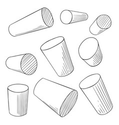 sketch cylinders penciling outline perspective vector image